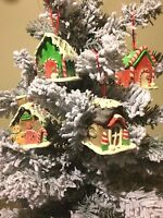 S/4 CLAY GINGERBREAD HOUSE XMAS TREE ORNAMENTS DECOR COOKIES ICE CREAM CANDY