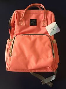 HaloVa Land Diaper Bag Insulated Backpack Style In Salmon/Grey