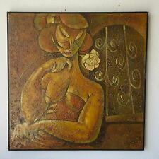LARRY MASCHINO LISTED VINTAGE FINEST CUBIST NUDE FEMALE ABSTRACT MODERN PAINTING