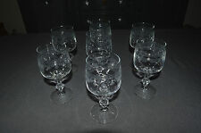 7 Glasses Old a Wine White Glass Souffle/Grave Garland Flower