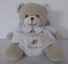 Tartine et Chocolat***doudou peluche boule  ours blanc beige poche 28 cm