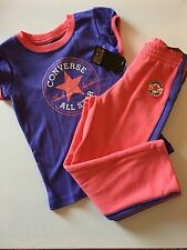 Converse All Star Short Sleeve Top And Joggers Set Girls Purple Pink 2-3 Years