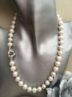 "18"" White Cultured Pearl Necklace Fine Silver Rose Hook Clasp Large 9-10mmPearls"