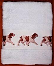 SPRINGER SPANIEL DOG LARGE HAND/GUEST COTTON TOWEL WATERCOLOUR PRINT SANDRA COEN