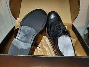 Frye Graham Wingtip Black Leather Derby Men shoes Size 11.5 M New With Box