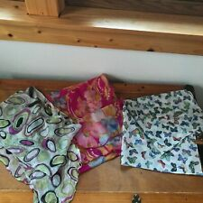 Estate Lot of 3 Fuchsia Floral White w Blue Butterflies & Green Purple & Black