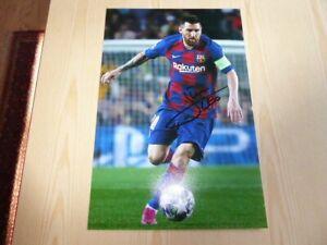 "Lionel Leo Messi FC Barcelona 12"" x 8"" photograph original autograph signed COA"