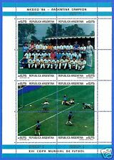 ARGENTINA, WORLD CUP SOCCER, MEXICO 86, FANTASTIC MINIATURE SHEET.-
