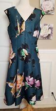 $218 Anthropologie Moulinette Soeurs Baikal Teal Floral Dress Size 14 VGUC