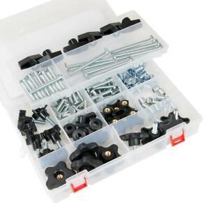 POWERTEC T-Track Jig Hardware Kit Plastic Sorting Case Movable Divider 129-Piece
