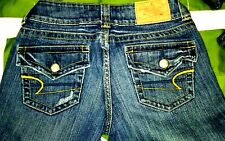 Women Jeans American Eagle Blue Denim Low rise embroidered pockets Size 28
