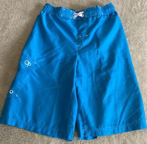Op Boys Bright Blue White Swim Trunks Shorts Pocket 10-12