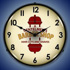 A Gentlemens Barber Shop Haircuts & Shaves LIGHT UP clock  Free Fast Ship 💈💈💈