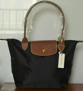 New Longchamp Le Pliage Nylon Tote Handbag Shoulder Bag Size Large Black Color