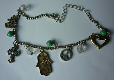 Anklet Beads Om Love Peace Cnd Cross Hamsa Hand Of Fatima Charms