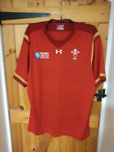 """WALES 2015 RUGBY UNION WORLD CUP SHIRT BY UNDER ARMOUR SIZE 3XL 48/50"""""""