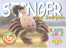 TY Beanie Babies BBOC Card - Series 2 Common - STINGER the Scorpion - NM/Mint