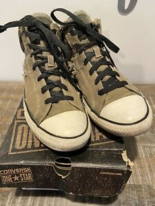 CONVERSE  ONE STAR  Men's 10 CANVAS OLIVE MID SIDE CAMO W/BOX PREOWNED