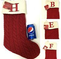 """ST. NICHOLAS SQUARE 21"""" KNIT CHRISTMAS STOCKING MONOGRAM INITIAL """"B"""" """"E"""" """"F"""" """"H"""""""