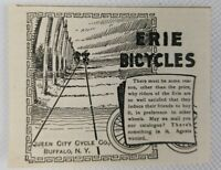 1895 Original Antique Erie Bicycles,  Queen City Cycle Co. Buffalo Print Ad Art