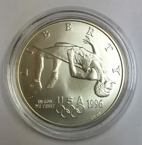 1996-D $1 Atlanta Olympic High Jump Commemorative Silver Dollar - BU
