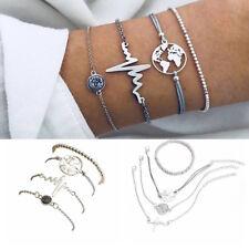 4Pcs/Set Women World Map Rope Beads Crystal Charm Bracelet Jewelry Fashion Gift