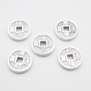5PCS S999 Fine Silver Pendant Lucky Five Emperors Coin 5.8g 15x2.8mm