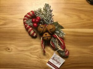 Primitive Vintage Look CANDY CANES w/ Rusty Bells and Berries - Christmas Décor