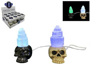 1pce 10cm Selenite Crystal Skull Lamp 2 Asstd Colour Changing USB Lamp Décor
