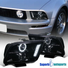 For 2005-2009 Ford Mustang Smoke Projector LED Halo Headlight Glossy Black Pair