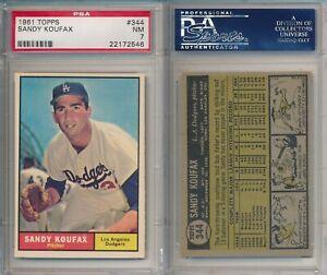 Sandy Koufax Dodgers HOF 1961 Topps #344 PSA 7 (NM) x546