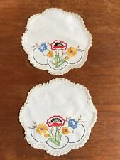 Vintage Hand Embroidered Cotton Duchess Doily....Dressing dining Table Crochet