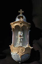 Bel ancien Bénitier Porcelaine Vierge et Enfant - Holy Water Font /Acquasanteria