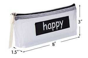 Happy Pencil Pouch Pen Case, Makeup Pocket Brush Holder Bag