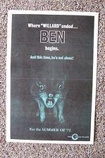 BEN Lobby Card Movie Poster Were Willard Ended