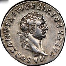 81-96AD Roman Empire Domitian as Caesar AR Denarius rev. SCARCE CURULE CHAIR