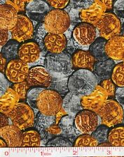 Pirate Buried Treasure - Gold and Silver Coins Quilt Fabric - 1 Yard