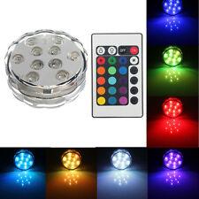 10 LED RGB Lampe Lumineuse Spot Sans Fils Étanche 24IR Remote Vase Base Batterie
