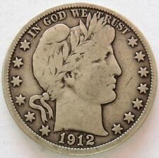 1912 D SILVER UNITED STATES BARBER HALF DOLLAR COIN FINE CONDITION