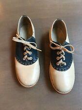 Vintage Biltrite Women'S 7 W Leather Saddle Shoes 50s 60s Navy Blue Oxford Flats