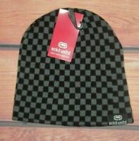 MENS ECKO UNLTD CHECKED BLACK GRAY BEANIE HAT CAP ONE SIZE