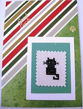 Good Luck Card Completed Cross Stitch Black Cat 7X5""