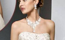 Silver Diamante Wedding Bride Bridal Necklace Earrings Jewellery Set Party Prom