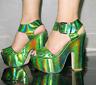 Glitter Women's Chunky High Heels Open Toe Buckle Strap Platform Sandals Shoes