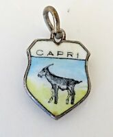 CAPRI Italy Vintage Silver Enamel Travel Shield Charm RARE