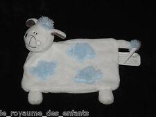 Doudou plat Mouton blanc bleu et marron nuages Kimbaloo La Halle