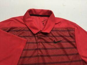 Men's Nike Golf Dri fit Polo Shirt Size Medium M Dri-Fit Polyester red