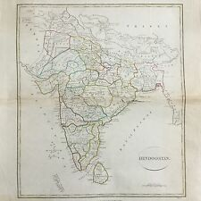 Carte Map India 1808 Hindoostan 19thC Longman & Co