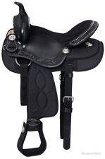 16 Inch Western Pro Trail Mule Saddle - Black Leather and Synthetic - 16 pounds