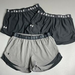 Under Armour Womens Large Play Up 3.0 Shorts Lot of 3 Pair Black & Gray Athletic